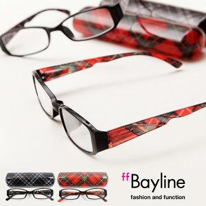Bayline/ベイライン リーディンググラス テンプルのみチェック柄の男女兼用デザイン 老眼鏡 メンズ レディース あす楽対応
