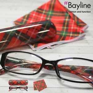 Bayline ベイライン リーディンググラス &クロスセット [レッドチェック] 老眼鏡 女性 おしゃれ