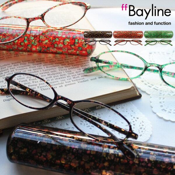 全国定形外郵便送料無料♪Bayline/ベイライン リーディンググラス(老眼鏡) オーバル型フレーム ミニフラワー柄デザイン 【あす楽対応】 老眼鏡 女性 おしゃれ