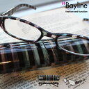 Bayline/ベイライン リーディンググラス クリアブラック系ストライプ柄プラスチックケース 老眼鏡 メンズ シニアグラ…