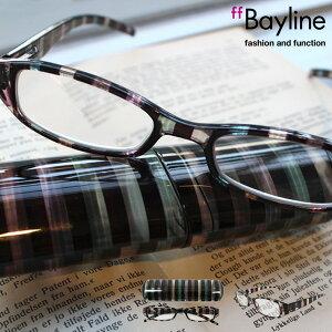 Bayline/ベイライン リーディンググラス クリアブラック系ストライプ柄プラスチックケース 老眼鏡 メンズ シニアグラス あす楽対応