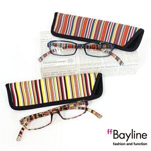 Bayline リーディンググラス ネックリーダーズ マルチストライプ 老眼鏡 ブルーライトカット あす楽対応