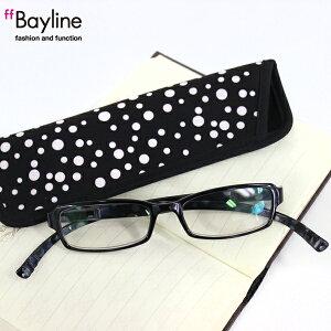 Bayline『neck readers』首に掛けられる新感覚リーディンググラス ドット柄 ケース付き 老眼鏡 ブルーライトカット