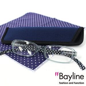 Bayline『neck readers』 リーディンググラス &クロスセット ドット柄 老眼鏡 ブルーライトカット