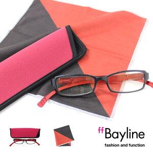 Bayline『neck readers』 リーディンググラス &クロスセット 男女兼用 PC対応 スポンジケース付 老眼鏡 ブルーライトカット シニアグラス あす楽対応