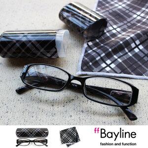 Bayline/ベイライン リーディンググラス &クロスセット [ブラックチェック] 老眼鏡 おしゃれ あす楽対応