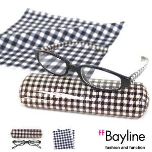 Bayline リーディンググラス&クロスセット 白黒ギンガムチェック 老眼鏡 おしゃれ メンズ