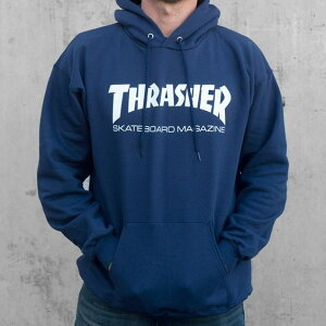 THRASHERMAGAZINESkateMagHoodblack/navy/greyスラッシャーメンズファッショントップストレーナーストリート