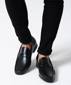【10%OFF対象】フェイクレザーコインローファー/全3色【あす楽対応】【ローファー メンズ 靴 シューズ ビジネス カジュアル フェイクレザー 紳士靴 シンプル ブラック ブラウン きれいめ ベーシック 定番】