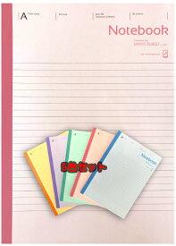 【特価】【 B5判 】【 A罫 普通横罫 】アピカノートブック5色パック(スマホパックノート) A罫 7mm×29行 30枚 SMAFO BUNGU with 5冊