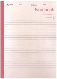 【特価】【 B5判 】【 A罫 普通横罫 】アピカノートブック(スマホパックノート) ピンク A罫 7mm×29行 30枚 SMAFO BUNGU with