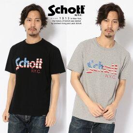 Schott/ショット 公式通販 | US FLAG LOGO T-SHIRT/星条旗柄 ロゴTシャツ【送料無料】
