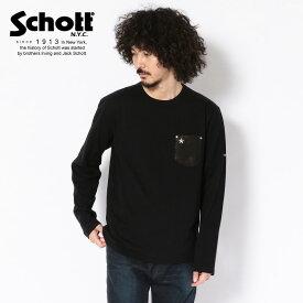 Schott/ショット 公式通販 | 鹿革のレザーを使用した胸ポケットTシャツ LEATHER POCKET LONGSLEEVE T-SHIRT/レザーポケット ロンT