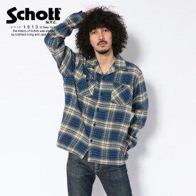 Schott/ショット 公式通販・直営店限定 | VINTAGE NEL PLAID OPEN COLLAR SHIRT/ヴィンテージオープンカラーネルシャツ ブルー チェックシャツ 長袖【送料無料】