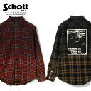 Schott/ショット 公式通販 | PLAID WORK SHIRT/プレイド ワークシャツ 長袖チェックシャツ バックプリント レッド
