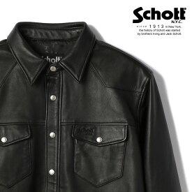Schott/ショット 公式通販 | LAMB LEATHER SHIRT/ウエスタン調のデザイン ラムレザーシャツ 本革長袖シャツ スナップボタン シャツアウター 柔らかい着やすい羊革 革シャツ