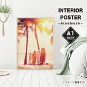 【ポスター インテリア A1 ポスターシートのみ】サーフボード 夕日 サンセットビーチ/写真 フォト/おしゃれなインテリアアートポスター