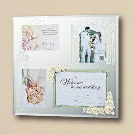 ミラーフォトフレーム ローズ M ホワイト 結婚祝い 結婚記念 ウェルカムボード ご両親への贈り物に