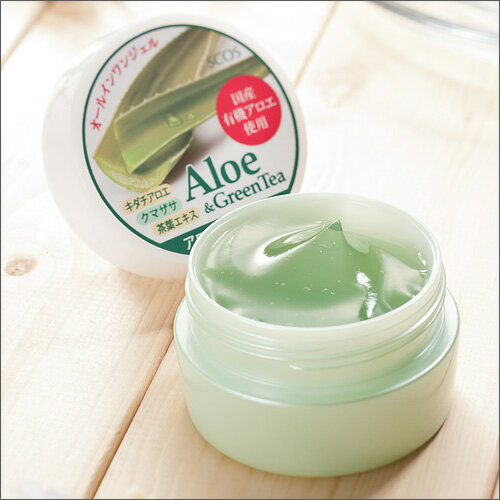 アロエ緑茶ジェル(オールインワンジェル)60g【エスコス】