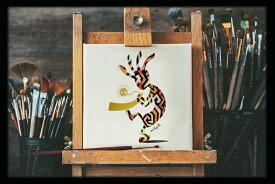 不思議なココペリ-金星の角笛-(額縁なし A4サイズ)開運 アート 絵画 癒やし 金運 幸運