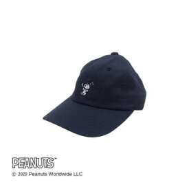 Workson ピーナッツライフワークデザイン UVケア ロゴキャップ ネイビー ワンポイント刺繍が入った可愛いCAP