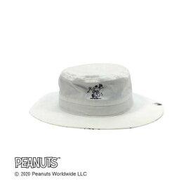 Workson ピーナッツライフワークデザイン UVケア ロゴハット ホワイト ワンポイント刺繍が入った可愛いHAT
