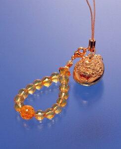 風水・獅子ストラップ 黄水晶 メンズ レディース 効果 ハンドメイド 浄化 種類 意味 アクセサリー 獅子 シトリン