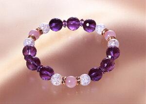 ローズクォーツ・アメジストブレス 紫水晶 爆裂白水晶 ローズクォーツ パワーストーン ブレスレット メンズ レディース 効果 ハンドメイド 浄化 種類 意味 アクセサリー クリスタル クラッ