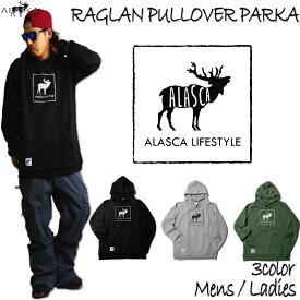 ALASCA パーカー スノーボード RAGLAN PULLOVER PARKA moose2 2016-17 スノボー ウェア スノボ スキー 裏起毛 アラスカ メンズ レディース ALASKA banps 送料無料 コーチジャケット あす楽