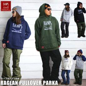 BANPS パーカー スノーボード RAGLAN PULLOVER PARKA smile 2018-19 スノボー ウェア スノボ スキー 裏起毛 メンズ レディース BANPS