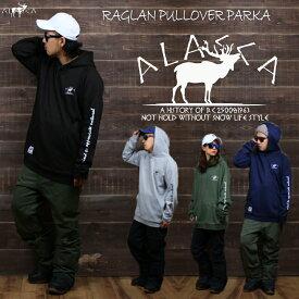 ALASCA パーカー スノーボード moose point RAGLAN PULLOVER PARKA 2018-19 スノボー ウェア スノボ スキー 裏起毛 メンズ レディース alaska banps アラスカ