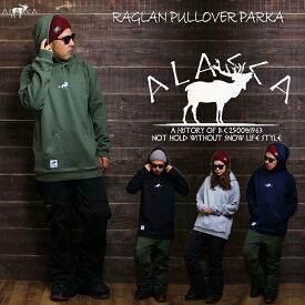 【SALE】ALASCA パーカー スノーボード little moose RAGLAN PULLOVER PARKA 2018-19 スノボー ウェア スノボ スキー 裏起毛 メンズ レディース alaska banps アラスカ