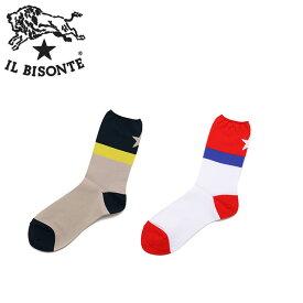 IL BISONTE ソックス イルビゾンテ クルーソックス 靴下 ワンスター 男女兼用 54182304880 ネイビー/レッド【正規取扱店】【2色展開】 D