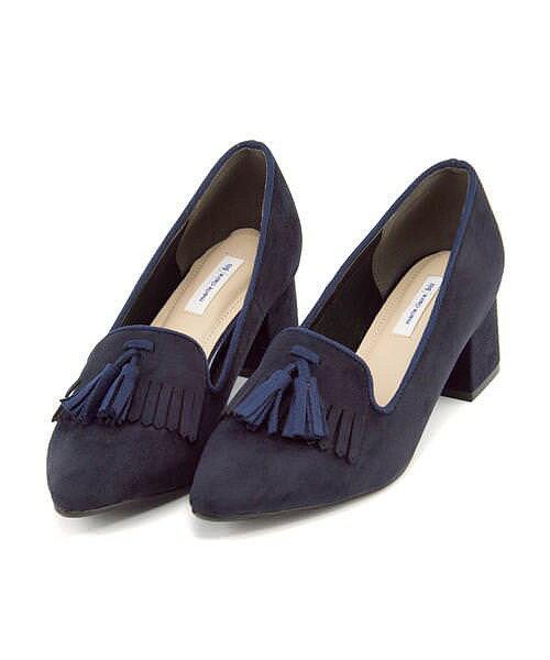 マリ・クレール ビス パンプス 痛くない 太ヒール 歩きやすい 疲れない レディース キルトタッセル ポインテッドトゥ クッション性 屈曲性 美脚 カジュアル デイリー トレンド フォーマル ドレス marie claire bis 178000 ネイビー