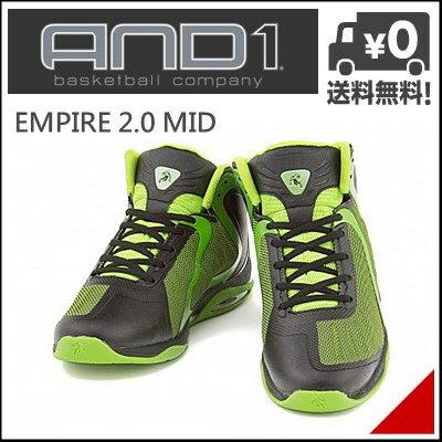 アンドワン メンズ ハイカット スニーカー エンパイア 2.0 ミッド EMPIRE 2.0 MID BKK AND1 D1043M ブラック/ライム/ライム