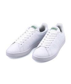 アディダス ローカット スニーカー メンズ アドバンコートベース クッション性 カジュアル デイリー スポーツ ウォーキング ADVANCOURT BASE adidas EE7690 ランニングホワイト/ランニングホワイト/グリーン