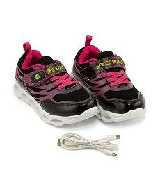 ランニングシューズ スニーカー 女の子 キッズ 子供靴 通学靴 運動靴 光る靴 ゴム紐 ストラップ 通気性 クッション性 カジュアル デイリー ストリート スピードウィング SPEED WING 1017 ブラック