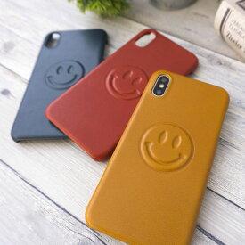 栃木レザー 全機種対応 本革 スマホケース 【 ニコちゃん 】スマイル 笑顔 スマイル にこちゃん ニコチャン スマイリー アクセサリー 雑貨 かわいい シンプル iPhone 11 pro MAX PLUS Xperia Galaxy AQUOS メール便送料無料