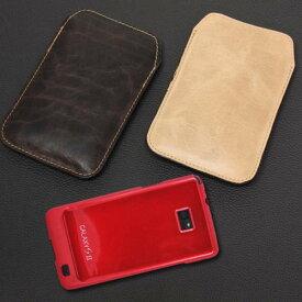 ヴィンテージな風合いで魅了する ヌメ革 ダメージレザー Galaxy s2/Galaxy Sケース (SC-02C カバー) 少し大きめLサイズ 全2色サンプル職人 拘りの一品( ドコモ ギャラクシー S2を傷・汚れから守るオシャレなケース)【スマートフォン case専門店】