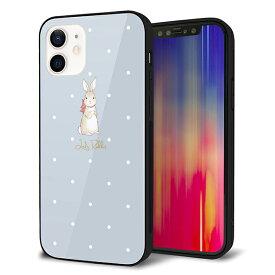 iPhone12 ケース カバー スマホケース 背面 ガラス TPU ガラプリ 【Lady Rabbit ブルーグレイ ガラプリhp】 メール便送料無料