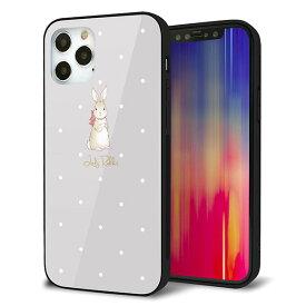 iPhone12 Pro ケース カバー スマホケース 背面 ガラス TPU ガラプリ 【Lady Rabbit グレージュ ガラプリhp】 メール便送料無料