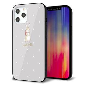 iPhone12 Pro Max ケース カバー スマホケース 背面 ガラス TPU ガラプリ 【Lady Rabbit グレージュ ガラプリhp】 メール便送料無料