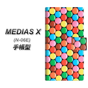 docomo MEDIAS X N-06E スマホケース手帳型/レザー/ケース / カバー【448 マーブルチョコ】(メディアスX/N06E/スマホケース/手帳式)
