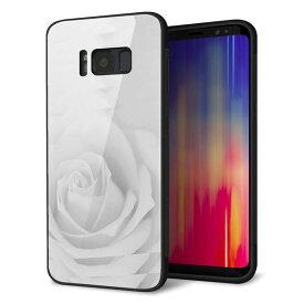 Galaxy S8 SC-02J ケース カバー 背面 ガラス TPU デザイン 【 402 ホワイトRose 】 印刷 光沢 メール便送料無料