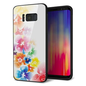 Galaxy S8 SC-02J ケース カバー 背面 ガラス TPU デザイン 【 1209 光と花 】 印刷 光沢 メール便送料無料