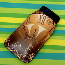 本革(レザー)スマートフォンケース デザイナーVer.【185 時を刻む針】【LLロング】Ascend D2/MEDIAS X/Galaxy S4/AQUOS PHONE ZETA/MEDIAS X/Disney mobile/INFOBAR/AQUOS PHONE SERIE/Disney Mobile/ARROWS V/Optimus LIFE等 汎用タイプ