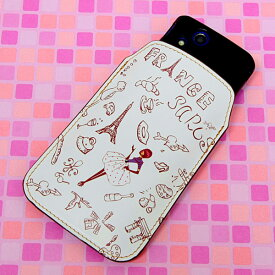 本革(レザー)スマートフォンケース デザイナーVer.【296 フランス】【LLロング】Ascend D2/MEDIAS X/Galaxy S4/AQUOS PHONE ZETA/MEDIAS X/Disney mobile/INFOBAR/AQUOS PHONE SERIE/Disney Mobile/ARROWS V/Optimus LIFE等 汎用タイプ