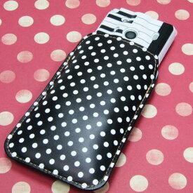 本革(レザー)スマートフォンケース デザイナーVer.【059 ドット柄(水玉) ブラック × ホワイト】【LLロング】Ascend D2/MEDIAS X/Galaxy S4/AQUOS PHONE ZETA/MEDIAS X/Disney mobile/INFOBAR/AQUOS PHONE SERIE/Disney Mobile/ARROWS V/Optimus LIFE等 汎用タイプ