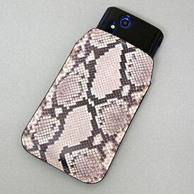本革(レザー)スマートフォンケース デザイナーVer.【049 ヘビ柄(白)】【LLロング】Ascend D2/MEDIAS X/Galaxy S4/AQUOS PHONE ZETA/MEDIAS X/Disney mobile/INFOBAR/AQUOS PHONE SERIE/Disney Mobile/ARROWS V/Optimus LIFE等 汎用タイプ