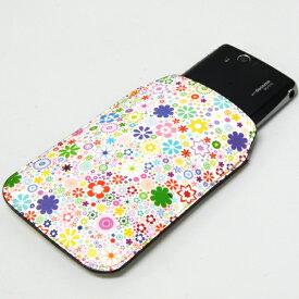 本革(レザー)スマートフォンケース デザイナーVer.【308フラワーミックス】【Mサイズ】MOTOROLA RAZR M/スマートフォン for ジュニア/AQUOS PHONE ss/DIGNO R/iPhone5/AQUOS PHONE si/ARROWS Kiss/MEDIAS Uなど対応!汎用タイプ メール便送料無料